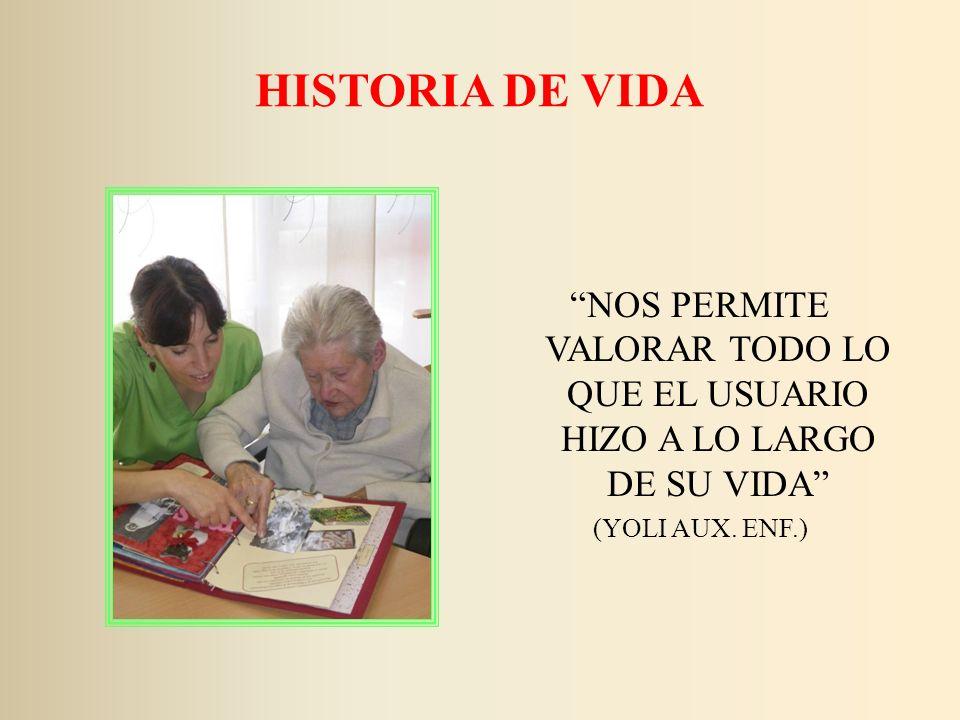 HISTORIA DE VIDA NOS PERMITE VALORAR TODO LO QUE EL USUARIO HIZO A LO LARGO DE SU VIDA (YOLI AUX. ENF.)