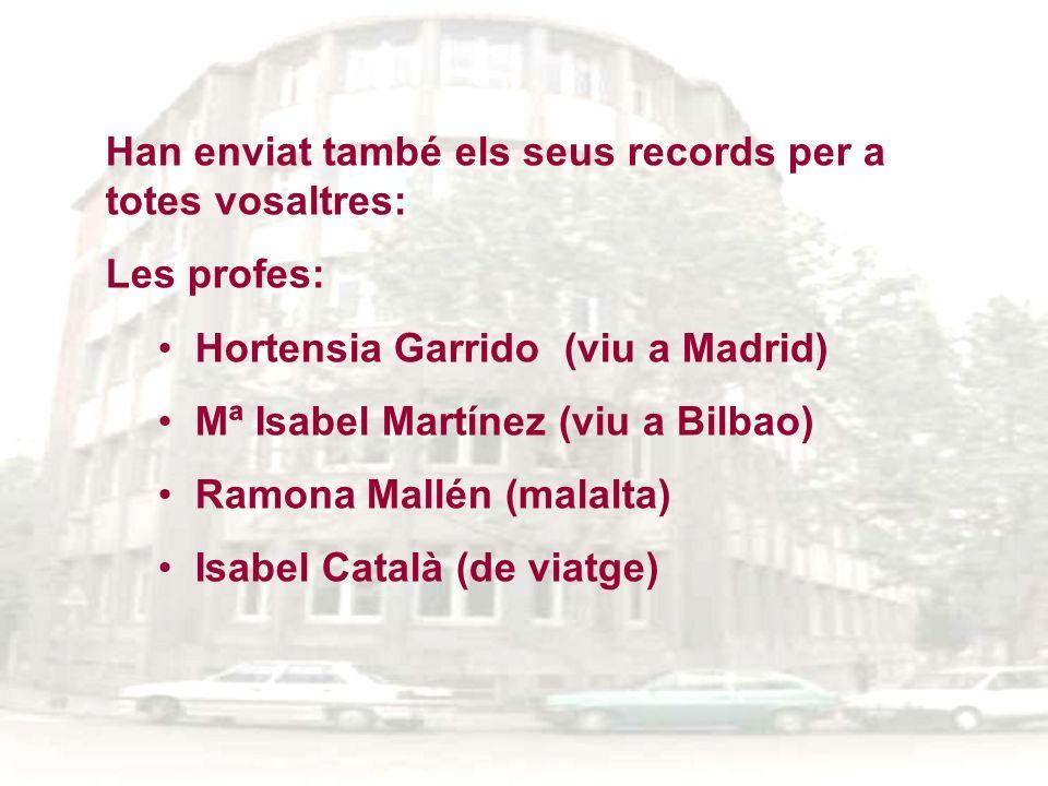 Han enviat també els seus records per a totes vosaltres: Les profes: Hortensia Garrido (viu a Madrid) Mª Isabel Martínez (viu a Bilbao) Ramona Mallén
