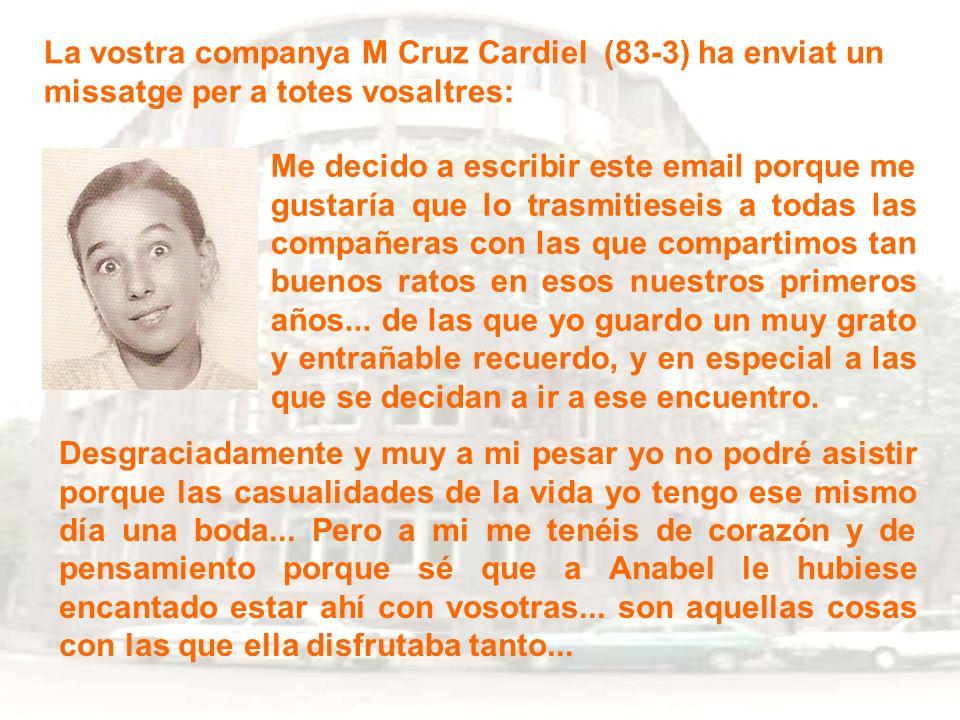 La vostra companya M Cruz Cardiel (83-3) ha enviat un missatge per a totes vosaltres: Me decido a escribir este email porque me gustaría que lo trasmi