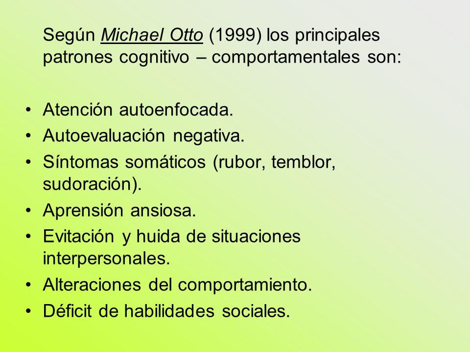 Según Michael Otto (1999) los principales patrones cognitivo – comportamentales son: Atención autoenfocada. Autoevaluación negativa. Síntomas somático