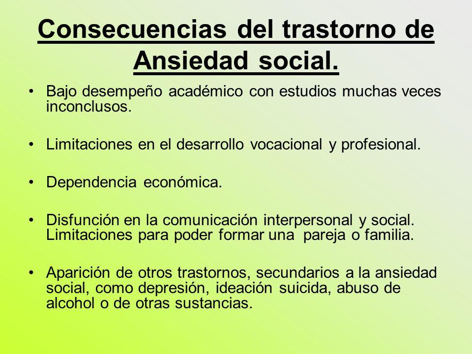 Consecuencias del trastorno de Ansiedad social. Bajo desempeño académico con estudios muchas veces inconclusos. Limitaciones en el desarrollo vocacion
