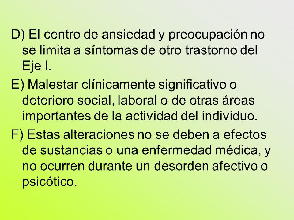 D) El centro de ansiedad y preocupación no se limita a síntomas de otro trastorno del Eje I. E) Malestar clínicamente significativo o deterioro social