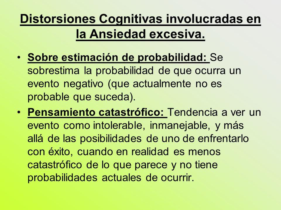 Distorsiones Cognitivas involucradas en la Ansiedad excesiva. Sobre estimación de probabilidad: Se sobrestima la probabilidad de que ocurra un evento