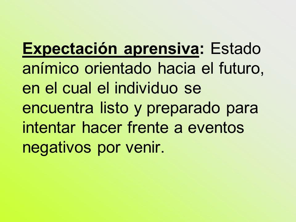 Expectación aprensiva: Estado anímico orientado hacia el futuro, en el cual el individuo se encuentra listo y preparado para intentar hacer frente a e
