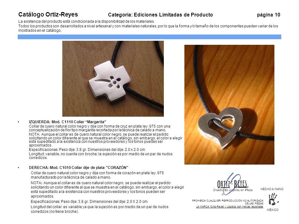 IZQUIERDA: Mod. C1110 Collar Margarita Collar de cuero natural color negro y dije con forma de cruz en plata ley.975 con una conceptualización de flor