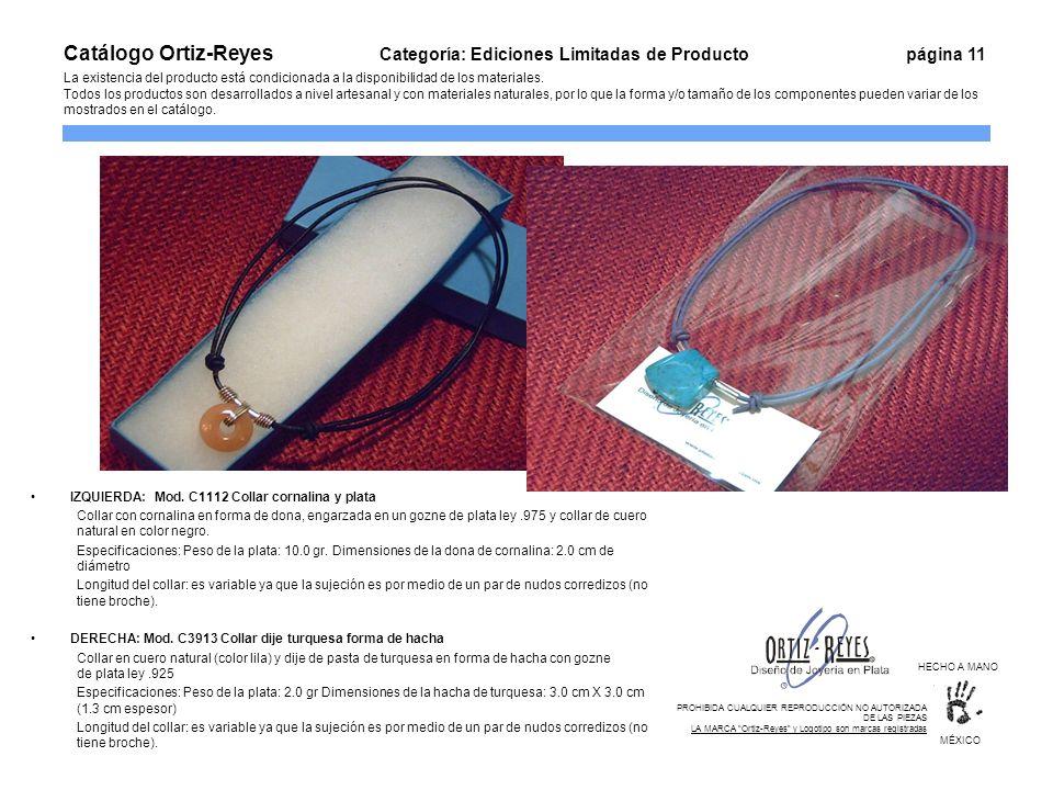IZQUIERDA: Mod. C1112 Collar cornalina y plata Collar con cornalina en forma de dona, engarzada en un gozne de plata ley.975 y collar de cuero natural