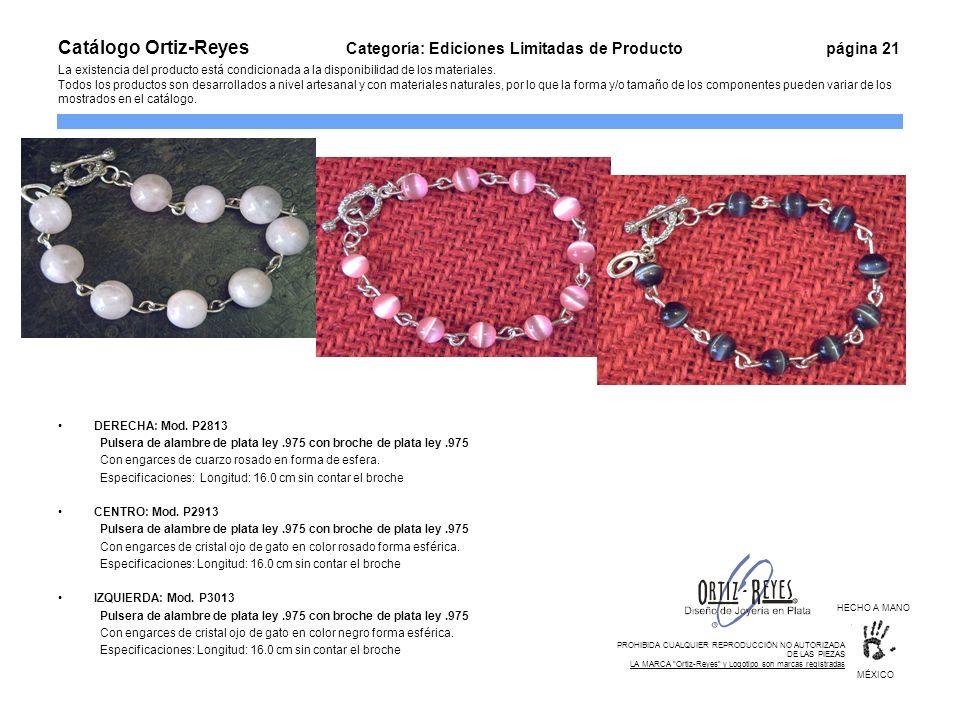 DERECHA: Mod. P2813 Pulsera de alambre de plata ley.975 con broche de plata ley.975 Con engarces de cuarzo rosado en forma de esfera. Especificaciones