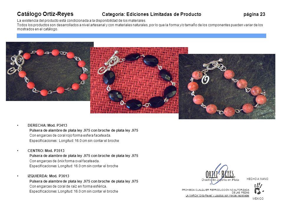 DERECHA: Mod. P3413 Pulsera de alambre de plata ley.975 con broche de plata ley.975 Con engarces de coral rojo forma esfera faceteada. Especificacione