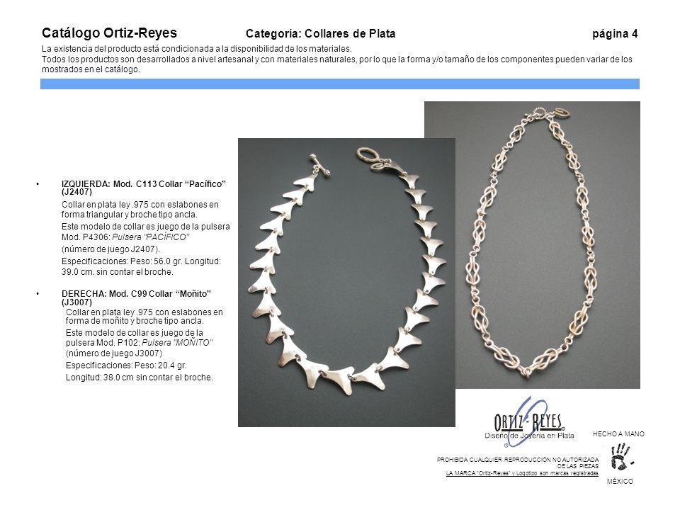 IZQUIERDA: Mod. C113 Collar Pacífico (J2407) Collar en plata ley.975 con eslabones en forma triangular y broche tipo ancla. Este modelo de collar es j