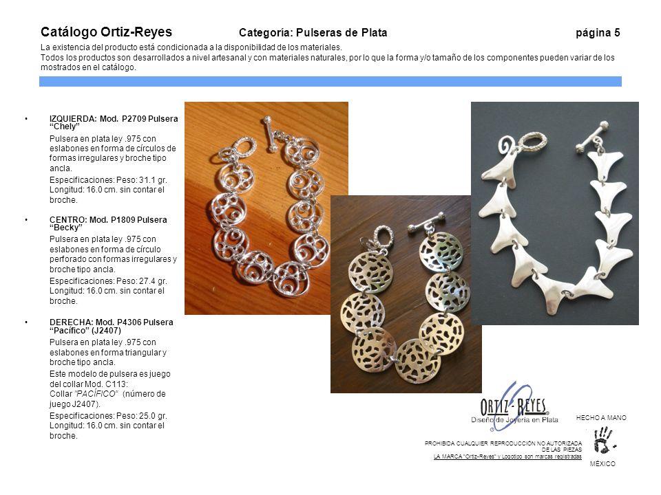 IZQUIERDA: Mod. P2709 Pulsera Chely Pulsera en plata ley.975 con eslabones en forma de círculos de formas irregulares y broche tipo ancla. Especificac