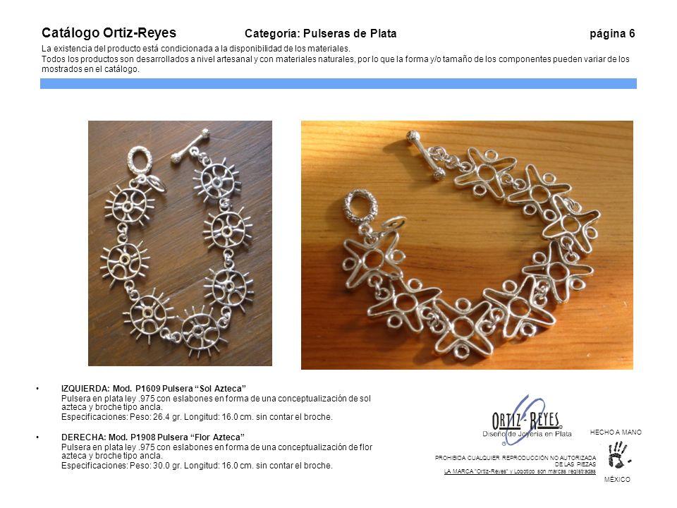 IZQUIERDA: Mod. P1609 Pulsera Sol Azteca Pulsera en plata ley.975 con eslabones en forma de una conceptualización de sol azteca y broche tipo ancla. E