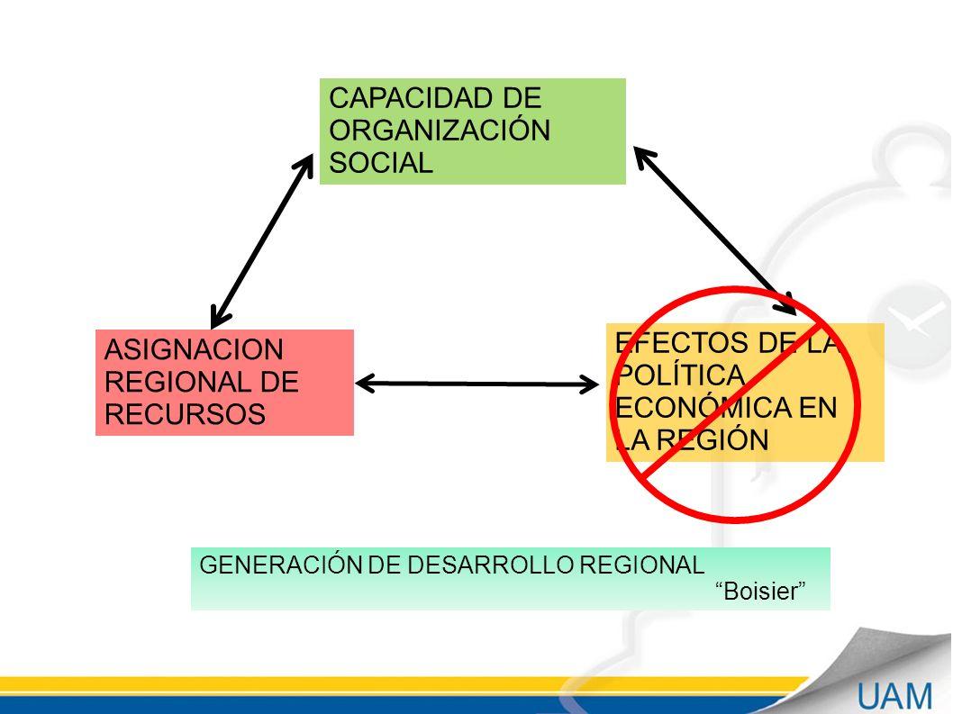 CAPACIDAD DE ORGANIZACIÓN SOCIAL ASIGNACION REGIONAL DE RECURSOS EFECTOS DE LA POLÍTICA ECONÓMICA EN LA REGIÓN GENERACIÓN DE DESARROLLO REGIONAL Boisier