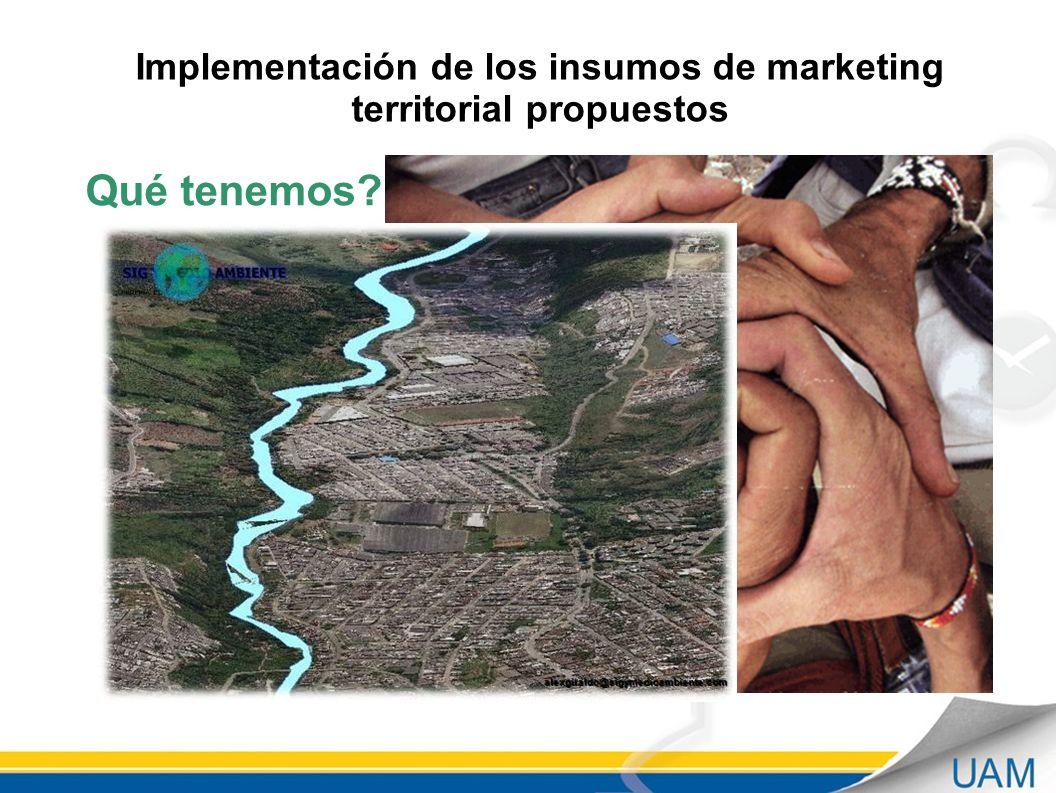 Implementación de los insumos de marketing territorial propuestos Qué tenemos?