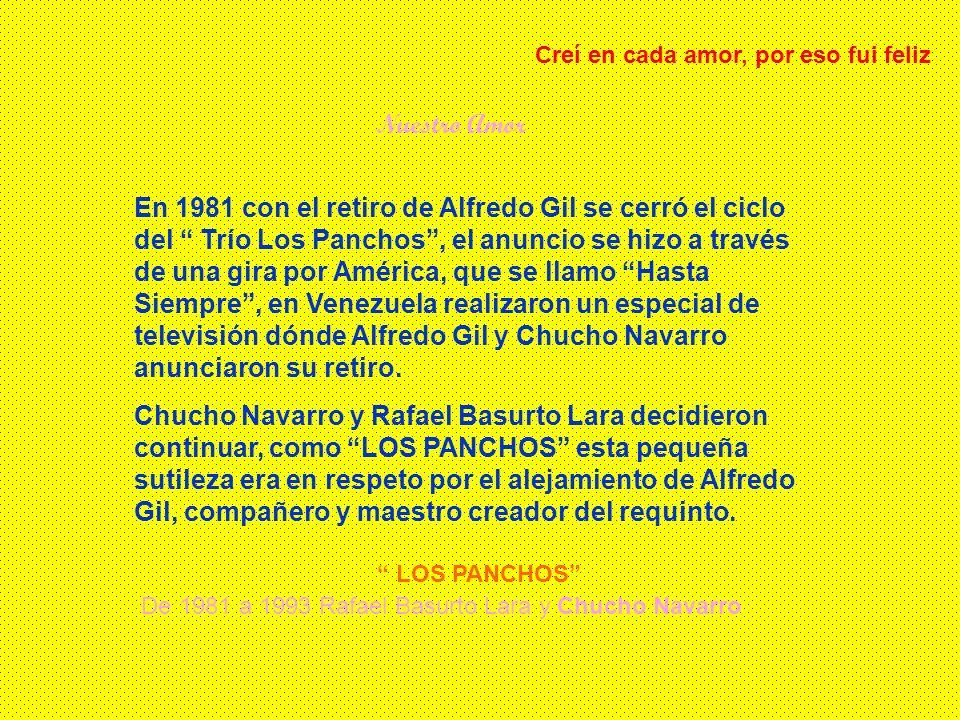 Extravio Historia de la agrupación TRIO LOS PANCHOS De 1944 a 1951 Hernando Aviles, Chucho Navarro y Alfredo Gil De 1951 a 1952 Raúl Shaw Moreno, Chuc