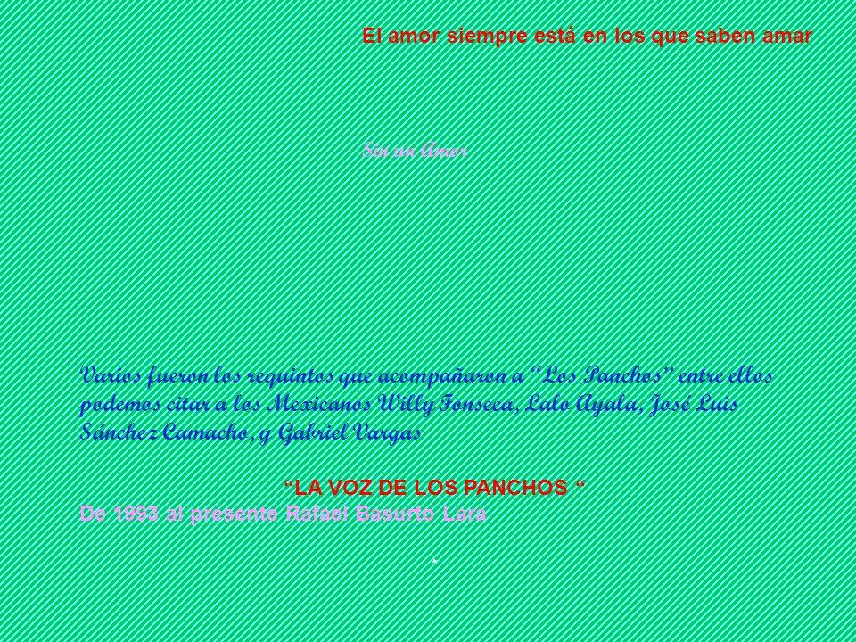 Nuestro Amor Creí en cada amor, por eso fui feliz En 1981 con el retiro de Alfredo Gil se cerró el ciclo del Trío Los Panchos, el anuncio se hizo a tr
