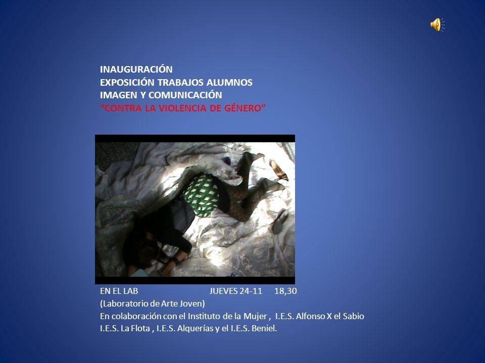 INAUGURACIÓN EXPOSICIÓN TRABAJOS ALUMNOS IMAGEN Y COMUNICACIÓN CONTRA LA VIOLENCIA DE GÉNERO EN EL LAB JUEVES 24-11 18,30 (Laboratorio de Arte Joven)