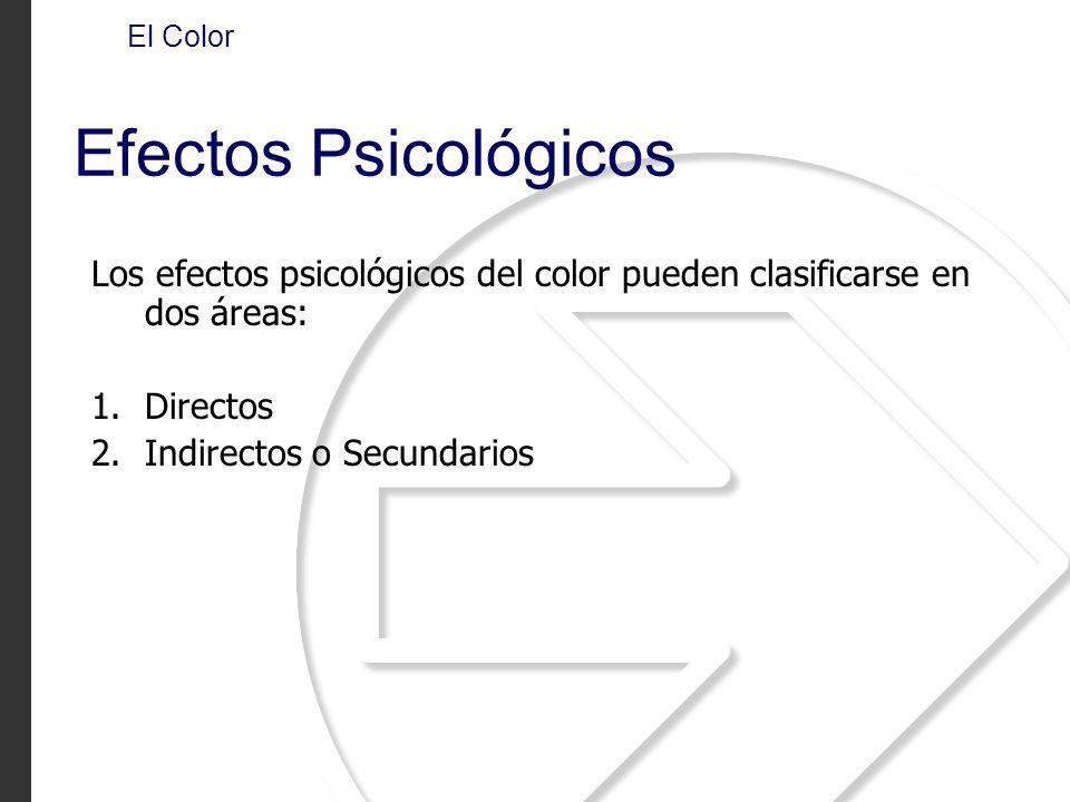 Los efectos psicológicos del color pueden clasificarse en dos áreas: 1.Directos 2.Indirectos o Secundarios El Color Efectos Psicológicos