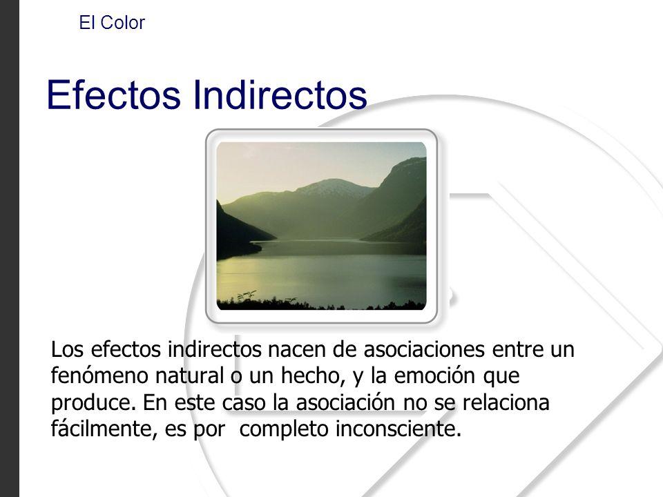 Los efectos indirectos nacen de asociaciones entre un fenómeno natural o un hecho, y la emoción que produce. En este caso la asociación no se relacion
