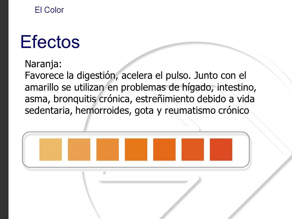 Naranja: Favorece la digestión, acelera el pulso. Junto con el amarillo se utilizan en problemas de hígado, intestino, asma, bronquitis crónica, estre