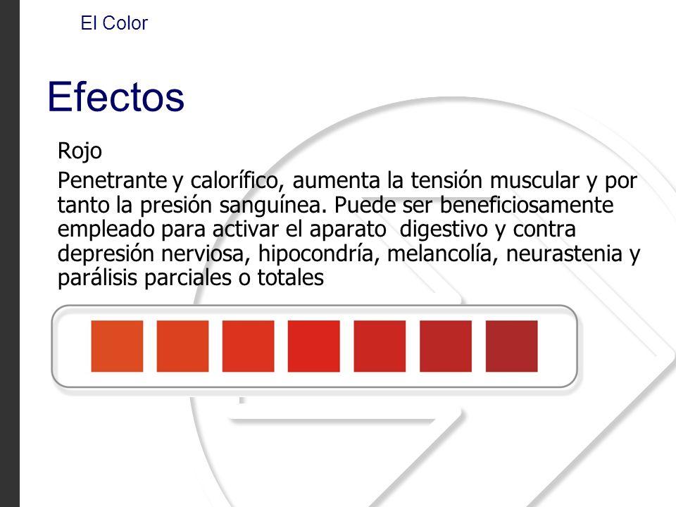 Rojo Penetrante y calorífico, aumenta la tensión muscular y por tanto la presión sanguínea. Puede ser beneficiosamente empleado para activar el aparat