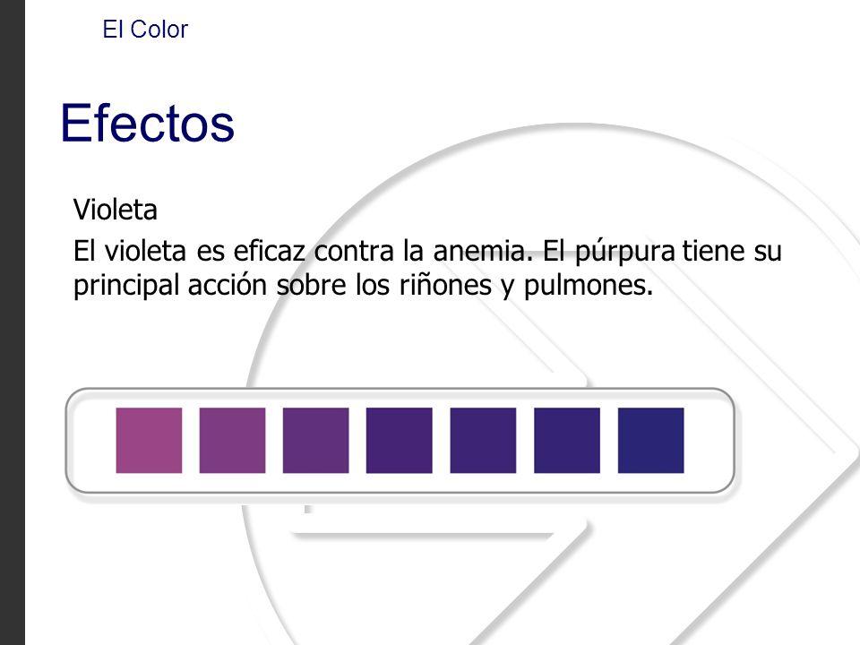 Violeta El violeta es eficaz contra la anemia. El púrpura tiene su principal acción sobre los riñones y pulmones. El Color Efectos