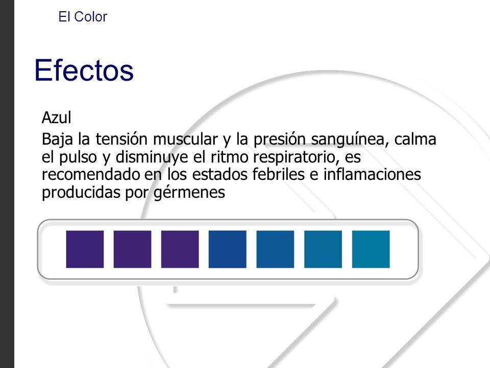 Azul Baja la tensión muscular y la presión sanguínea, calma el pulso y disminuye el ritmo respiratorio, es recomendado en los estados febriles e infla