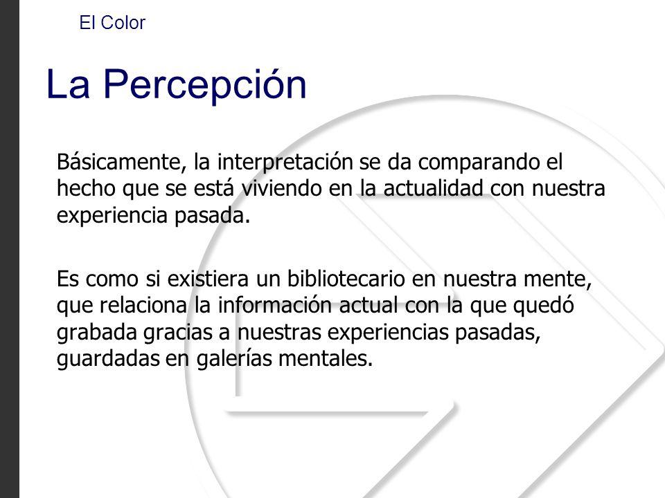 El Color La Percepción Básicamente, la interpretación se da comparando el hecho que se está viviendo en la actualidad con nuestra experiencia pasada.