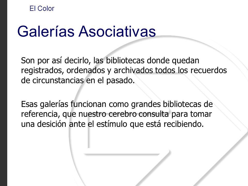El Color Galerías Asociativas Son por así decirlo, las bibliotecas donde quedan registrados, ordenados y archivados todos los recuerdos de circunstanc