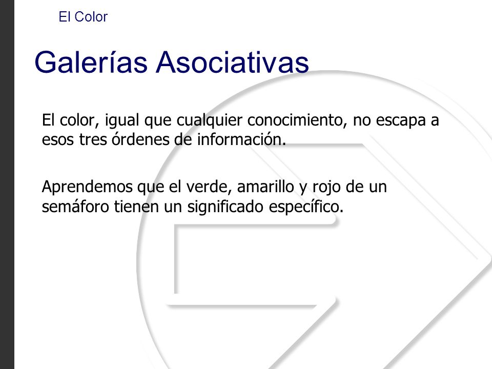 El Color Galerías Asociativas El color, igual que cualquier conocimiento, no escapa a esos tres órdenes de información. Aprendemos que el verde, amari