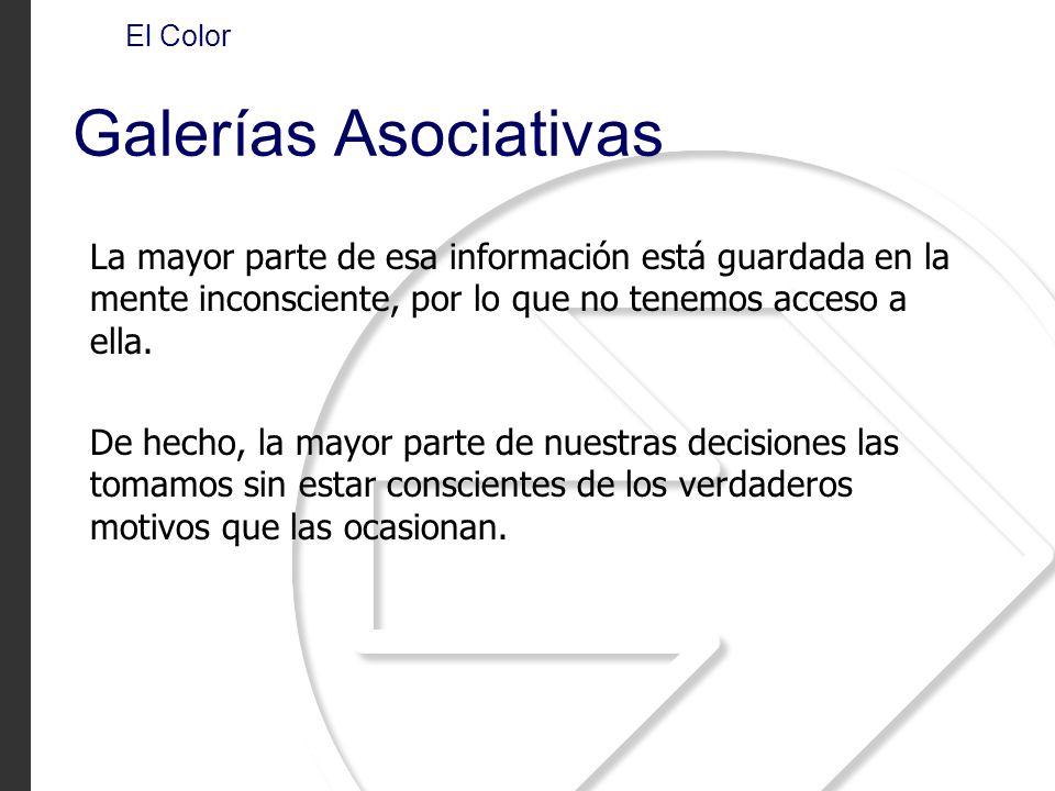 El Color Galerías Asociativas La mayor parte de esa información está guardada en la mente inconsciente, por lo que no tenemos acceso a ella. De hecho,