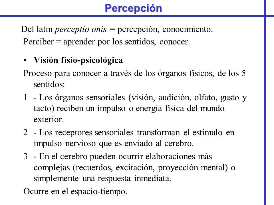Percepción Del latin perceptio onis = percepción, conocimiento. Perciber = aprender por los sentidos, conocer. Visión fisio-psicológica Proceso para c