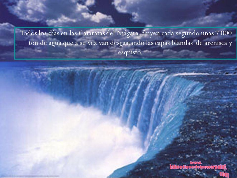 Todos los días en las Cataratas del Niágara, fluyen cada segundo unas 7 000 ton de agua que a su vez van desgastando las capas blandas de arenisca y e