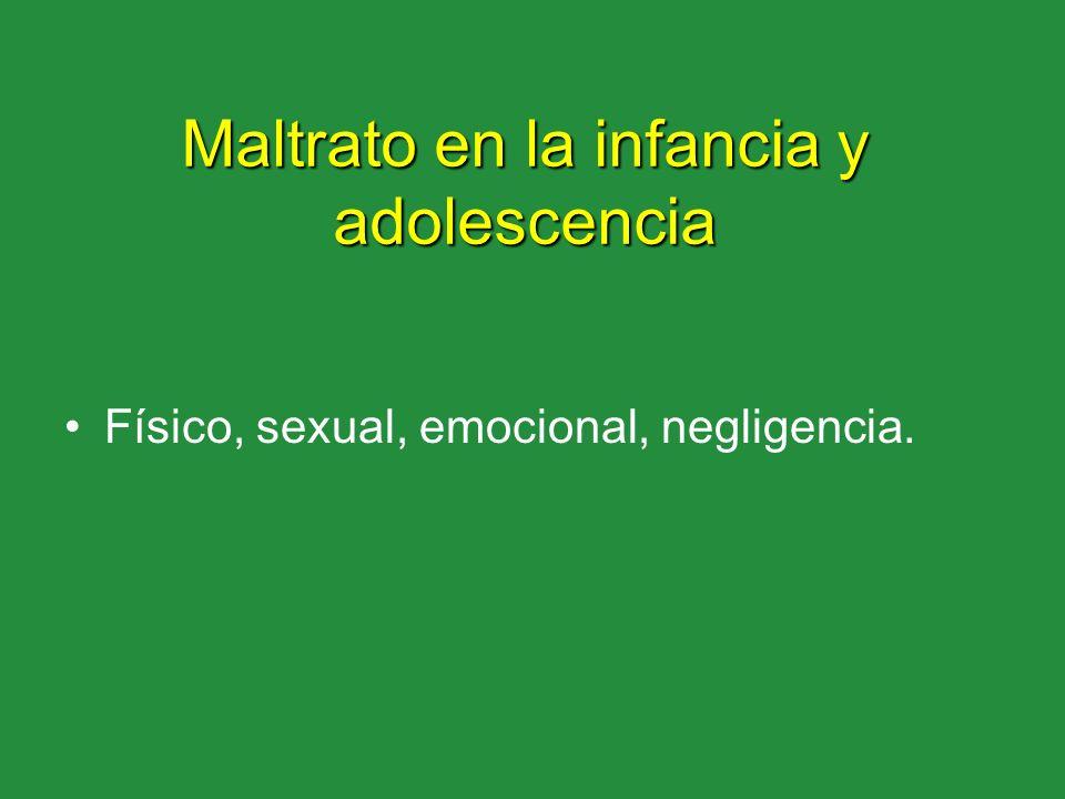 Maltrato en la infancia y adolescencia Físico, sexual, emocional, negligencia.