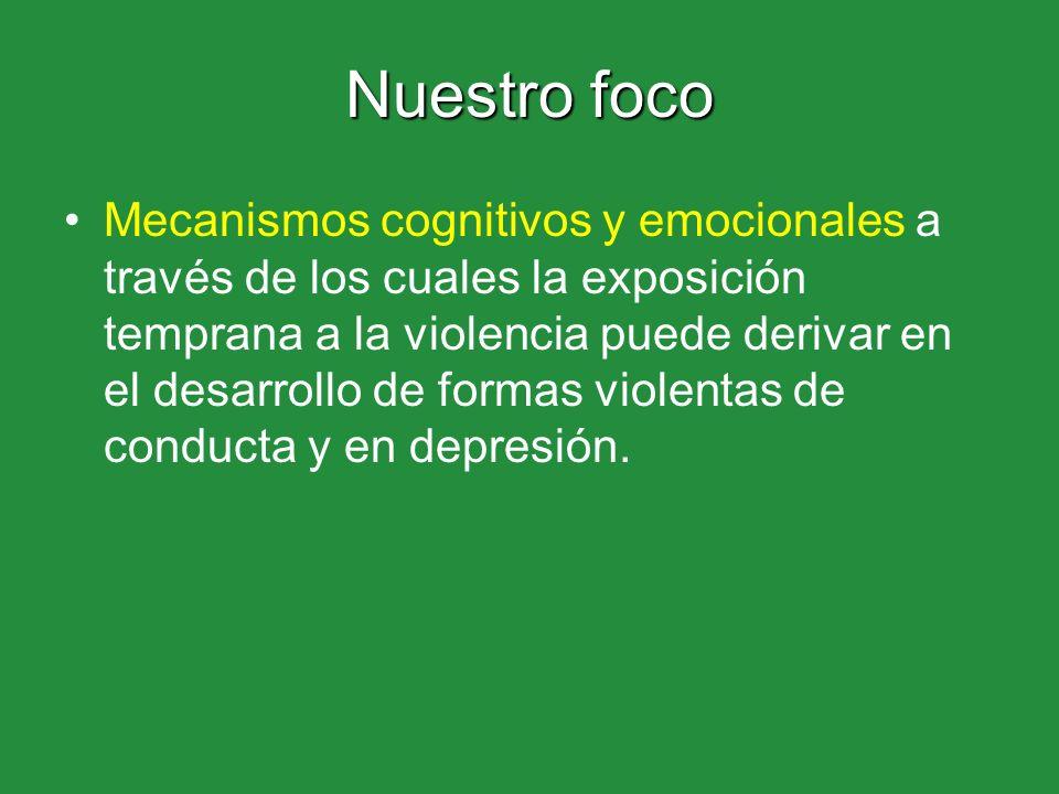 Nuestro foco Mecanismos cognitivos y emocionales a través de los cuales la exposición temprana a la violencia puede derivar en el desarrollo de formas