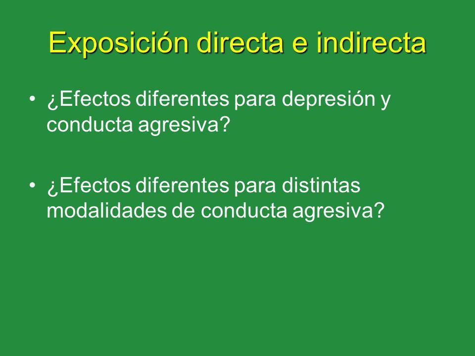 Exposición directa e indirecta ¿Efectos diferentes para depresión y conducta agresiva? ¿Efectos diferentes para distintas modalidades de conducta agre