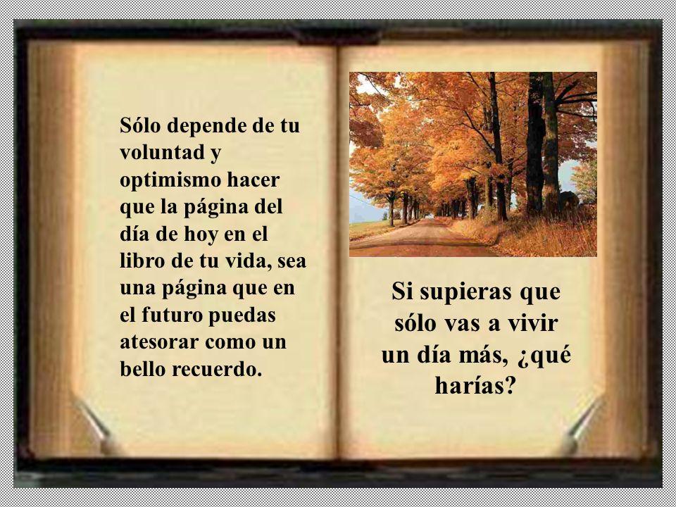 Sólo depende de tu voluntad y optimismo hacer que la página del día de hoy en el libro de tu vida, sea una página que en el futuro puedas atesorar como un bello recuerdo.