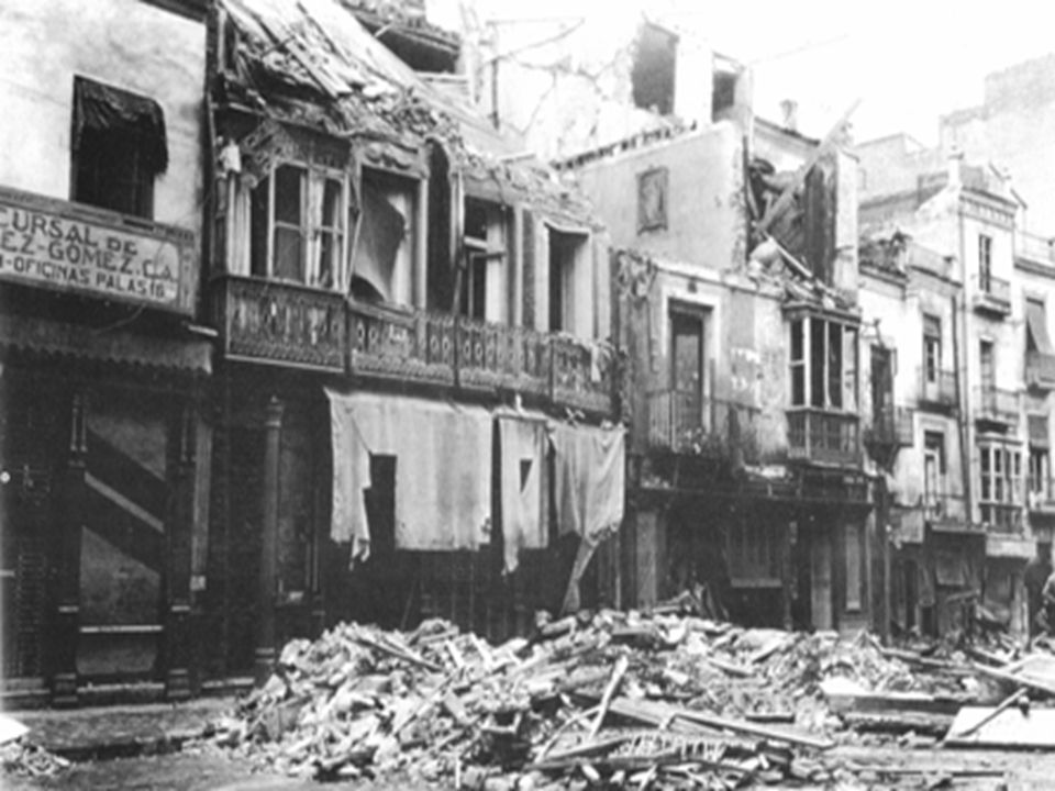 Cada punto representa un impacto conocido del bombardeo realizado por aviadores alemanes, el 25 de noviembre de 1936.