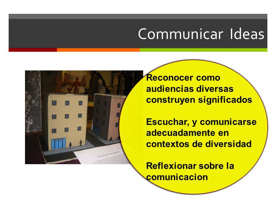 Communicar Ideas Reconocer como audiencias diversas construyen significados Escuchar, y comunicarse adecuadamente en contextos de diversidad Reflexionar sobre la comunicacion