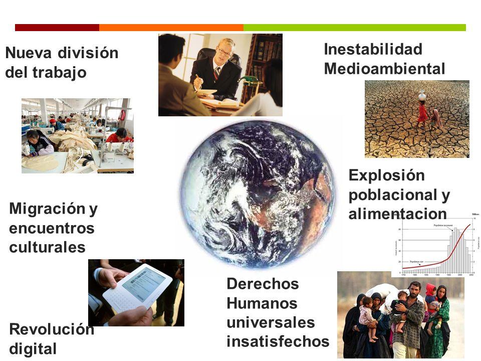 Derechos Humanos universales insatisfechos Inestabilidad Medioambiental Revolución digital Economic integration Nueva división del trabajo Migración y encuentros culturales Explosión poblacional y alimentacion