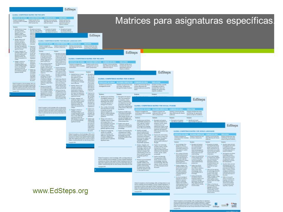 Matrices para asignaturas específicas. www.EdSteps.org