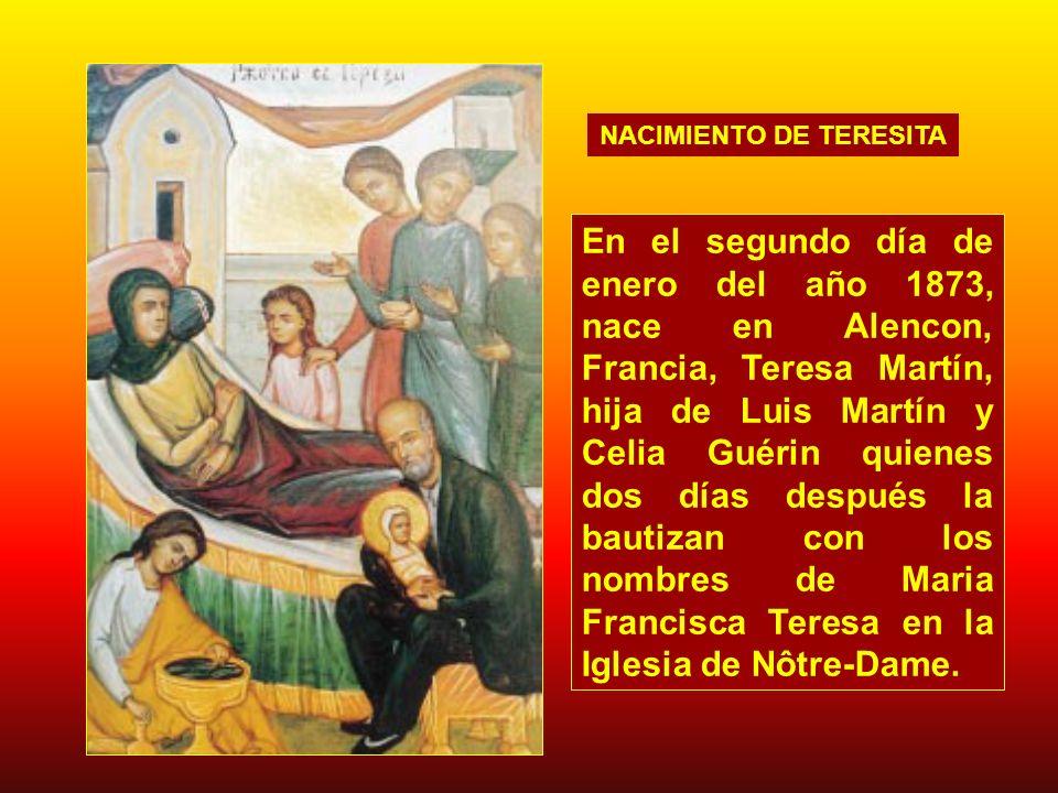 La florecita trasplantada a la montaña del Carmelo tenía que abrirse a la sombra de la cruz; las lágrimas y la sangre de Jesús fueron su rocío, y su Faz adorable velada por el llanto fue su sol...
