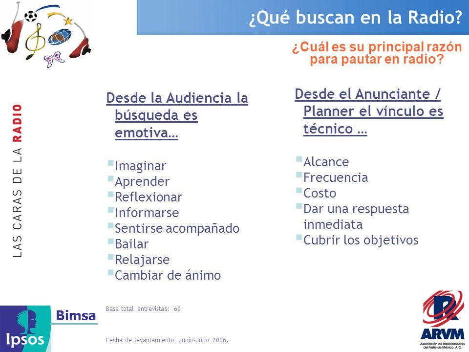 Bimsa La Radio llega a gente de todas las edades EGM (Estudio General de Medios, 2do Acumulado 2006 Julio 05-Junio 06).