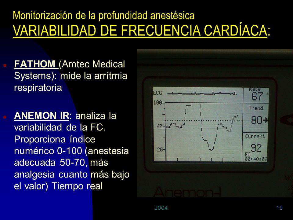 200419 n FATHOM (Amtec Medical Systems): mide la arrítmia respiratoria n ANEMON IR: analiza la variabilidad de la FC. Proporciona índice numérico 0-10
