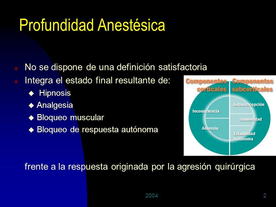 20042 Profundidad Anestésica n No se dispone de una definición satisfactoria n Integra el estado final resultante de: u Hipnosis u Analgesia u Bloqueo