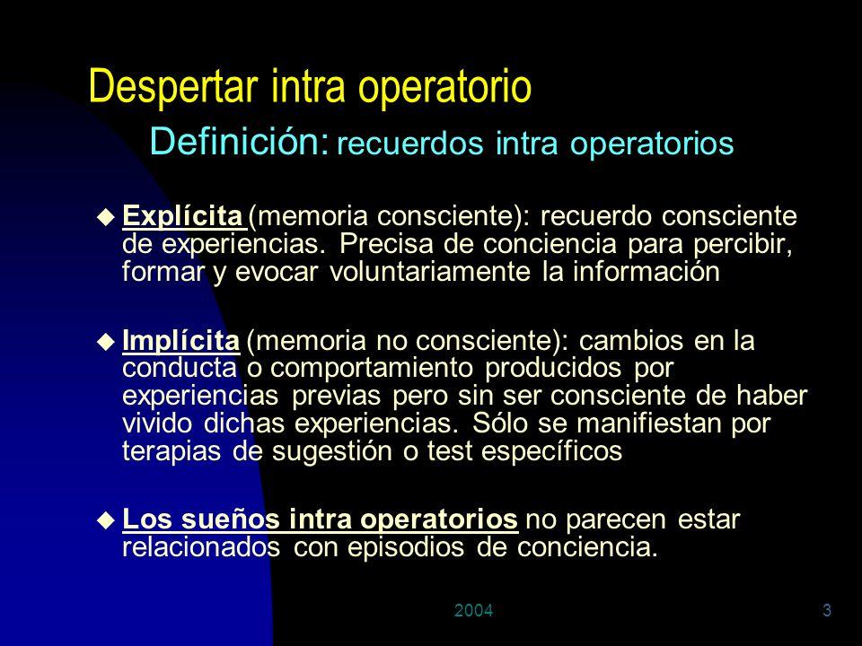 20043 Despertar intra operatorio Definición: recuerdos intra operatorios u Explícita (memoria consciente): recuerdo consciente de experiencias. Precis