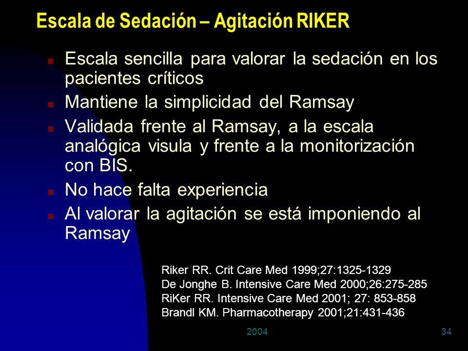 200434 Escala de Sedación – Agitación RIKER n Escala sencilla para valorar la sedación en los pacientes críticos n Mantiene la simplicidad del Ramsay