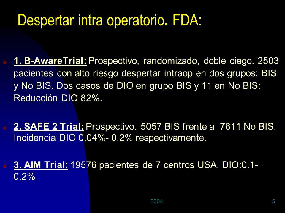 20045 Despertar intra operatorio. FDA: n 1. B-AwareTrial: Prospectivo, randomizado, doble ciego. 2503 pacientes con alto riesgo despertar intraop en d