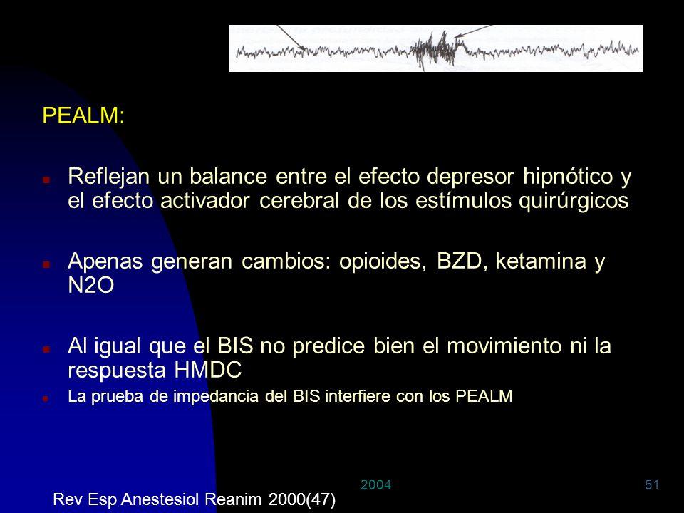 200451 PEALM: n Reflejan un balance entre el efecto depresor hipnótico y el efecto activador cerebral de los estímulos quirúrgicos n Apenas generan ca