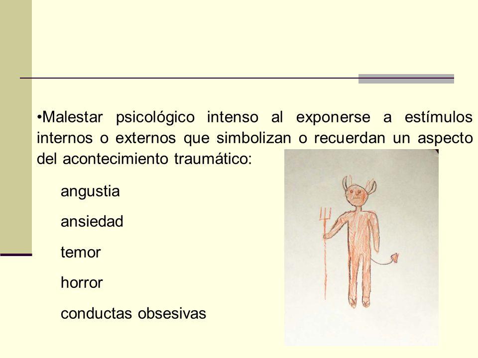 El individuo actúa o tiene la sensación de que el acontecimiento traumático está ocurriendo porque presenta: La sensación de estar reviviendo la exper