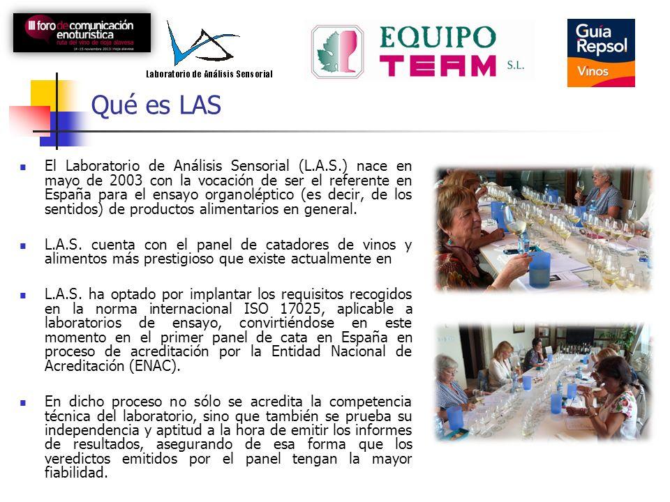 Qué es LAS El Laboratorio de Análisis Sensorial (L.A.S.) nace en mayo de 2003 con la vocación de ser el referente en España para el ensayo organoléptico (es decir, de los sentidos) de productos alimentarios en general.